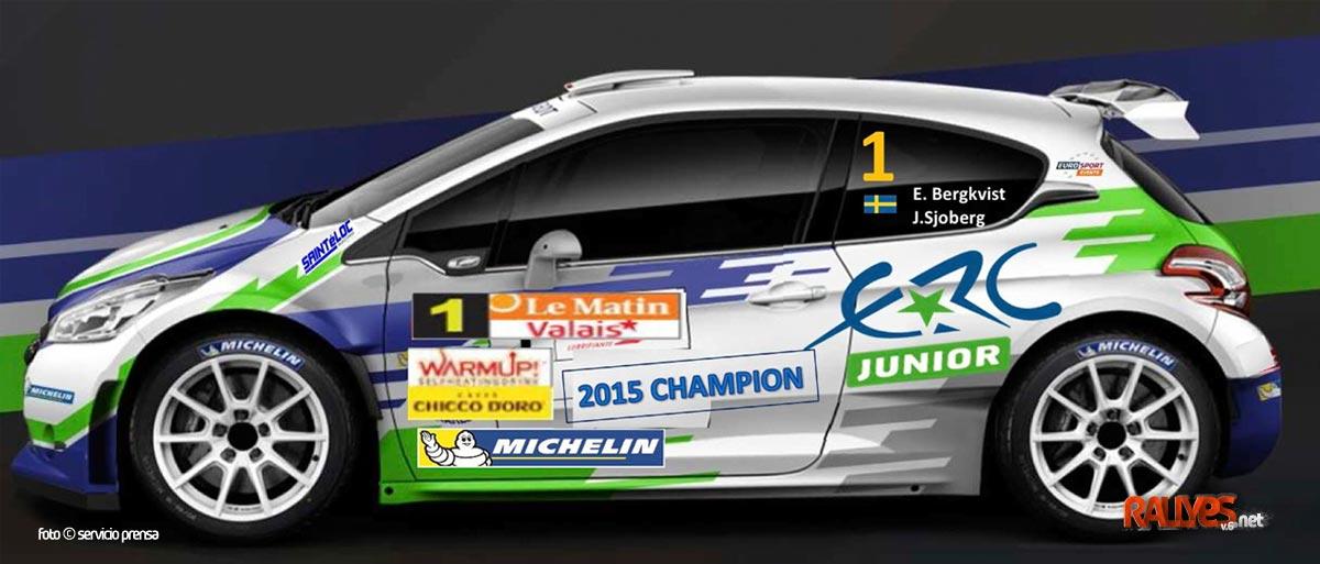 Emil Bergkvist, campeón junior ERC con un 208 T16 R5 en Valais