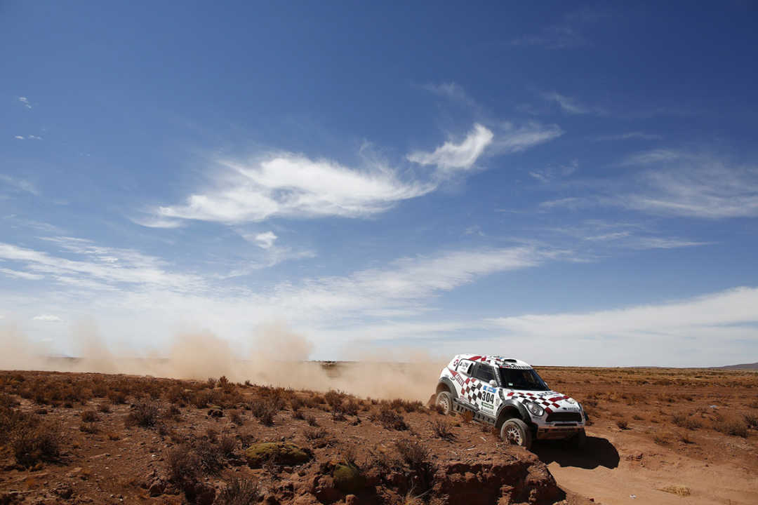 304 ROMA Nani (spa) HARO Alexandre (spa) MINI action during the Dakar 2016 Argentina,  Bolivia, Etape 6 - Stage 6, Uyuni - Uyuni,  from  January 8, 2016 - Photo Frederic Le Floc'h / DPPI