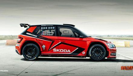 Skoda Fabia R5 decoracion en rojo Jan Kopecky