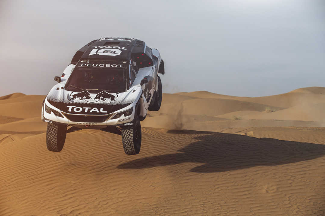 Stephane Peterhansel from Team Peugeot Total performs during a test run with the new Peugeot 3008 DKR  in Erfoud, Morocco on September 18, 2016 // Flavien Duhamel/Red Bull Content Pool // P-20160929-00477 // Usage for editorial use only // Please go to www.redbullcontentpool.com for further information. //