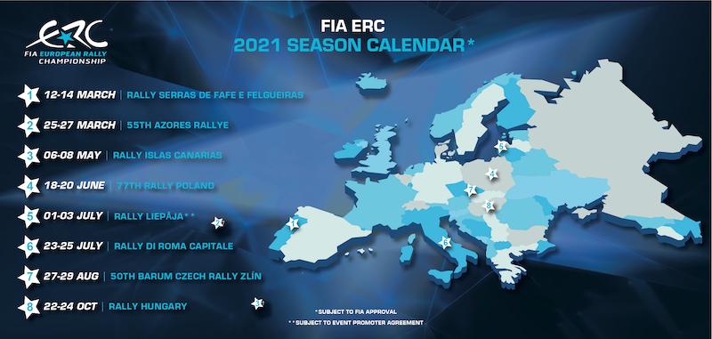 El Consejo Mundial de la FIA confirma el calendario del ERC 2021